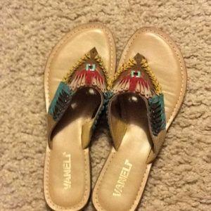 Colorful design Leather flip flop women's shoe